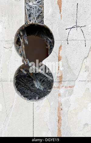 Preparatory work on a wall for installing new cable canals and sockets, electrical wiring in an old building, Stuttgart - Stock Photo