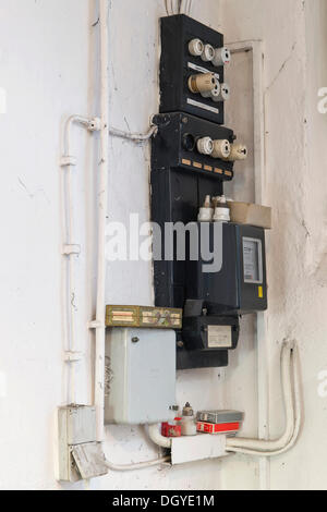 old fuses in a fuse box stock photo royalty image 4187887 old fuse box an electricity meter and electrical wiring on a wall in a basement