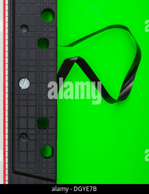 Damaged cassette tape - Stock Photo