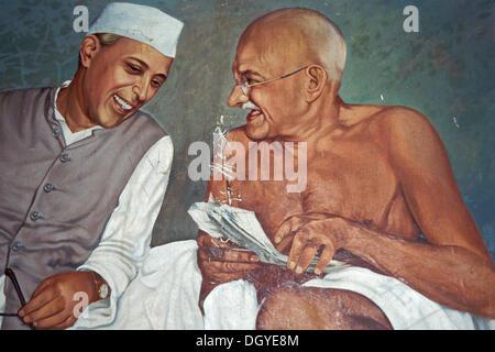 Painting, Pandit Jawaharlal Nehru, India's first prime minister with Gandhi, Aga Khan Palace, Pune or Poona, Maharashtra, - Stock Photo