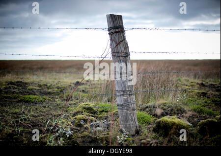 Wooden post with barbed wire, a fence near Kirkjubæjarklaustur, Kirkjubaejarklaustur, town of Skaftárhreppur - Stock Photo