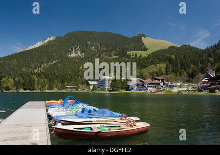 Rowing boats on Spitzingsee lake, Mangfall Mountains, Bavarian Alps, Upper Bavaria, Bavaria - Stock Photo