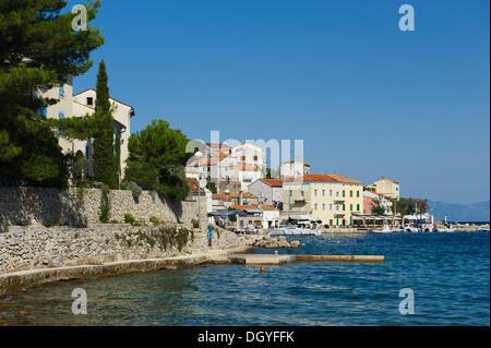 Fishing village of Valun, Cres Island, Adriatic Sea, Kvarner Gulf, Croatia, Europe - Stock Photo
