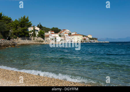Beach at the fishing village of Valun, Cres Island, Adriatic Sea, Kvarner Gulf, Croatia, Europe - Stock Photo