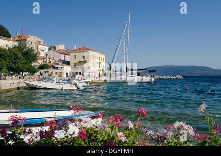 Boats in the fishing village of Valun, Cres Island, Adriatic Sea, Kvarner Gulf, Croatia, Europe - Stock Photo