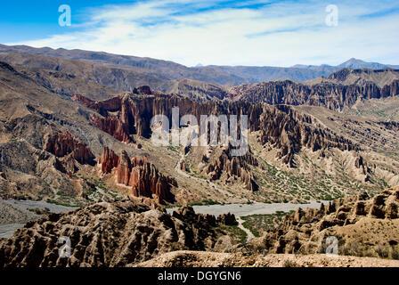 Valle de la Luna, as seen from the Mirador at El Sillar, South West Bolivia, South America - Stock Photo