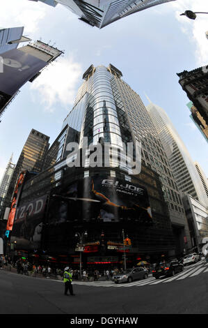 Times Square, fisheye lens, theater district, New York City, New York, USA, United States of America, North America - Stock Photo