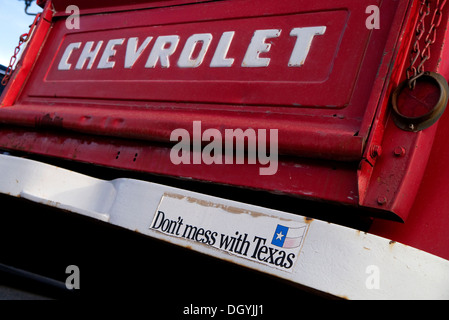 Classic Chevrolet pickup truck with 'Dont Mess with Texas' bumper sticker in Amarillo Texas USA - Stock Photo