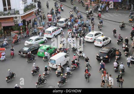 Road traffic, Hanoi, Vietnam, Southeast Asia - Stock Photo