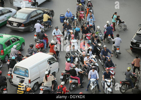 Wheelchair, mopeds, lots of traffic, square, Hanoi, Vietnam, Southeast Asia - Stock Photo