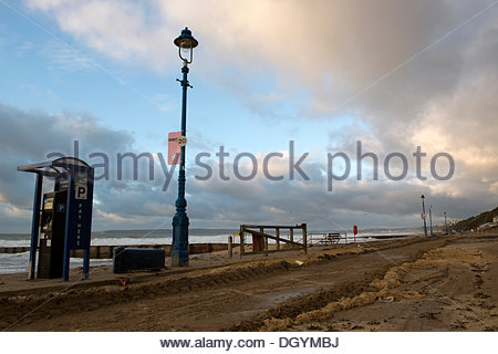 Boscombe, Bournemouth, UK, 28th October 2013. St Jude's Day Storm left bins overturned and debris on Boscombe Beach - Stock Photo