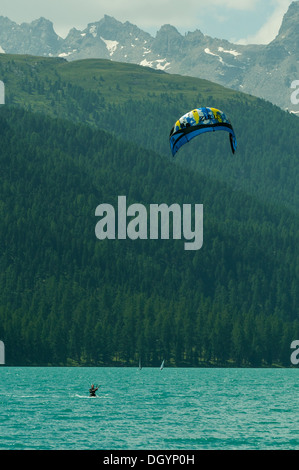 Windsurfer on Lake Silvaplana, Switzerland - Stock Photo