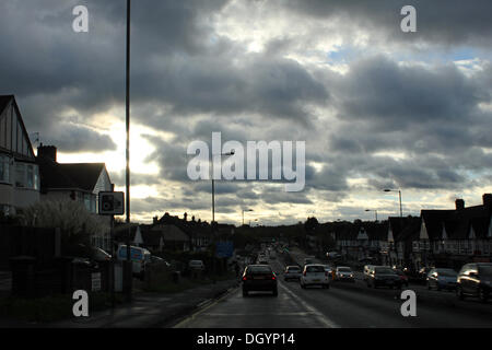 Epsom, Surrey, England, UK. 28th October 2013.  St Jude storm raged through Southern Britain overnight. Angry skies - Stock Photo