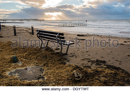 Bournemouth, UK, 28th October 2013. St Jude's Day Storm washes up footballs and debris to the beach in Boscombe, - Stock Photo