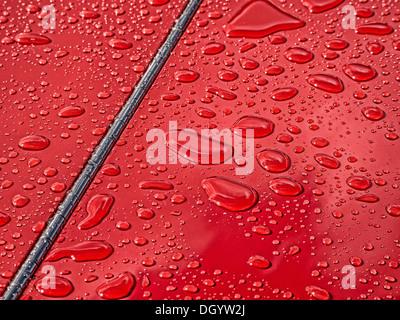 Rain drops on classic car paintwork - Stock Photo