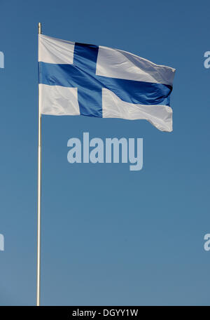 National flag of Finland flying in the wind, Finland, Europe - Stock Photo