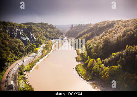Bristol, UK 28th Oct 2013. A break in the clouds lights up Avon Gorge in Bristol following storms overnight and - Stock Photo