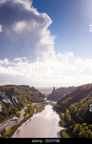 Bristol, UK 28th Oct 2013. The rear of the storm front passes over Avon Gorge in Bristol after bringing heavy storms - Stock Photo