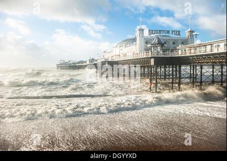 Brighton, UK. 28th Oct 2013. St Jude Storm hits southern UK coastline. Huge waves crashing on Brighton seafront - Stock Photo