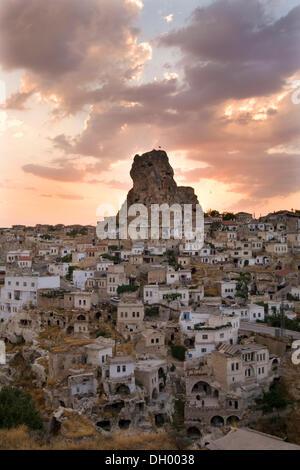 Evening light in Ortahisar, Cappadocia, Anatolia, Turkey, Asia - Stock Photo