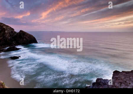 Sunset on the coast, Cornwall, England, United Kingdom - Stock Photo