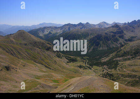 View from the Col de la Bonette mountain pass, highest paved road in Europe, Alpes-Maritimes department, Western - Stock Photo