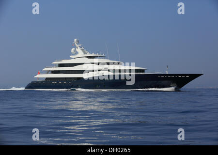 Amaryllis, a cruiser built by Abeking and Rasmussen, length: 78.43 m, built in 2011, off Cap Ferrat, French Riviera, - Stock Photo
