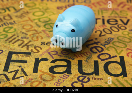 Fraud text on grunge paper with piggy bank - Stock Photo