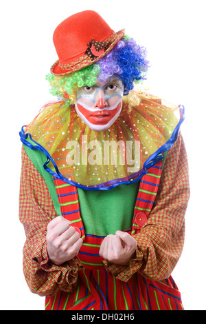Portrait of an evil clown. Isolated on white - Stock Photo