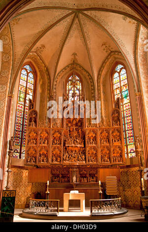 Schleswig Cathedral or Cathedral of St. Peter, oak altar by Hans Brueggemann manufactured 1514-1521, Schleswig-Holstein - Stock Photo