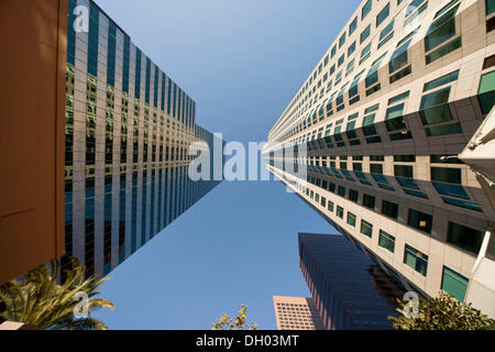 Skyscrapers of downtown Los Angeles, worm's eye view, Los Angeles, California, United States - Stock Photo