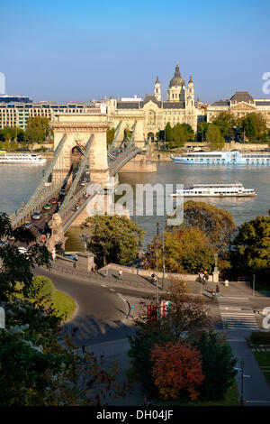 View across the Danube to Pest from The Buda Castle Hill, with the Szecheni Chain Bridge, Lanchid, Budapest, Hungary, - Stock Photo