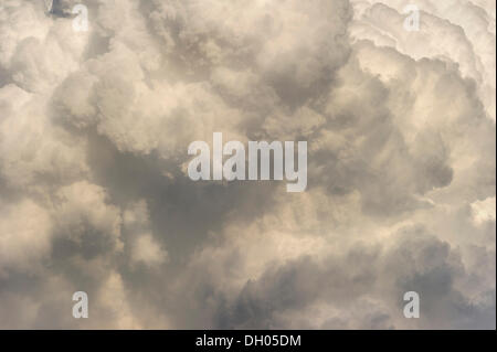 Cumulonimbus cloud, thundercloud, detail, Marzling, Upper Bavaria, Bavaria, Germany - Stock Photo