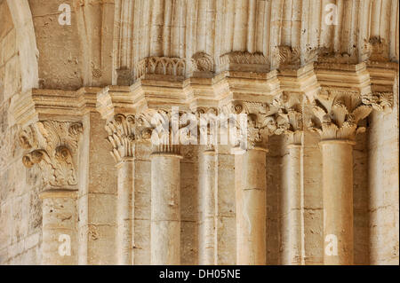 Columns with capitals on the arch of the main portal, vestibule of the Abbey Church of the Benedictine Abbey of - Stock Photo