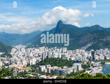 Rio de Janeiro city, Brazil - aerial from Sugarloaf Mountain; Christ the Redeemer statue on Corcovado mountain in - Stock Photo