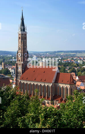 Gothic Cathedral of St. Martin, old town, Landshut, Lower Bavaria, Bavaria, Germany - Stock Photo