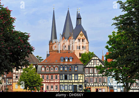 Romanesque Church of St. Mary, half-timbered houses, Gelnhausen, Hesse, Germany - Stock Photo