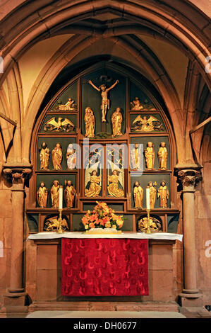 Apostle Altar or Lay Altar in the rood screen, Romanesque Church of St. Mary, Gelnhausen, Hesse, Germany - Stock Photo