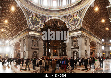 Dome area and the papal altar, St. Peter's Basilica, Fontana di Trevi, Rome, Lazio, Italy - Stock Photo