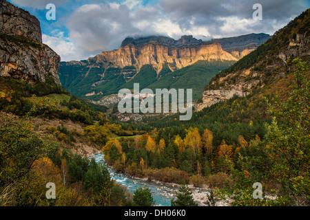 Autumn landscape in Ordesa and Monte Perdido National Park, Huesca, Aragon, Spain - Stock Photo