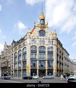 Commerzbank, formerly the Franz Ebert clothes store, Leipzig, Saxony, PublicGround - Stock Photo