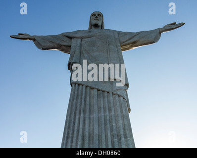 Statue of Christ the Redeemer on Corcovado mountain top in Rio de Janeiro Brazil - Stock Photo