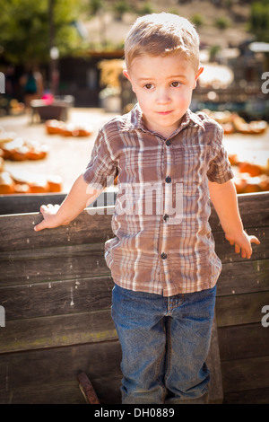 Adorable Little Boy Standing Against Old Wood Wagon at Pumpkin Patch in Rural Setting. - Stock Photo
