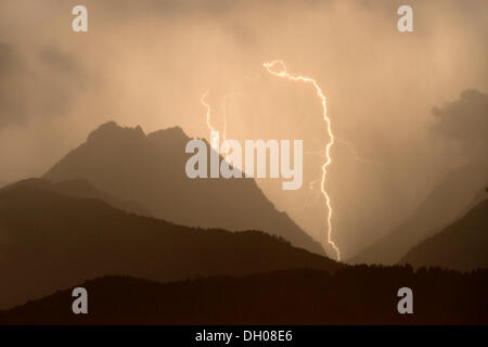 Thunderstorm, lightning strike in Vomperloch, Karwendel Mountains, Tyrol, Austria, Europe - Stock Photo