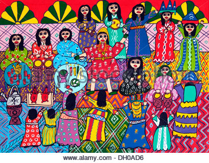 Primitive family painting art shop gallery Marrakesh Morocco - Stock Photo