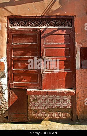 Marrakesh Morocco medina old city door lock gate - Stock Photo