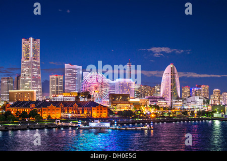 Yokohama, Japan aerial view at Minato Mirai waterfront district. - Stock Photo