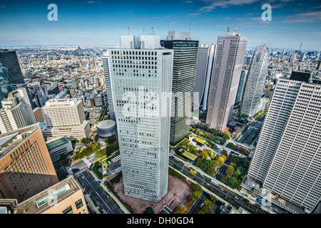 Financial buildings in Shinjuku, Tokyo, Japan. - Stock Photo
