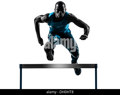 one african man hurdler running in silhouette studio isolated on white background - Stock Photo