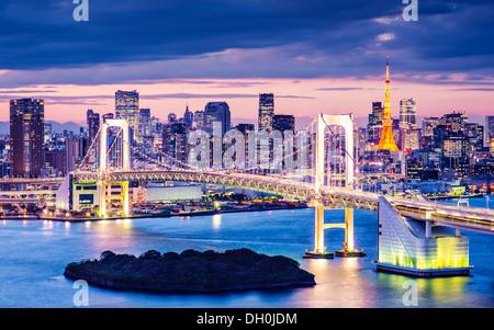 Tokyo Bay at Rainbow Bridge. - Stock Photo